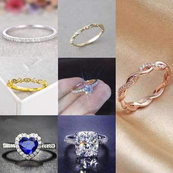 Nowe mody kryształowy pierścionek zaręczynowy pierścionek damski AAA biały cyrkon sześcienny elegancki pierścionek biżuteria cała sprzedaż tanie i dobre opinie CN (pochodzenie) Ze stopu cynku Kobiety Cyrkonia Śliczne Romantyczny Koktajl pierścień GEOMETRIC Wszystko kompatybilny