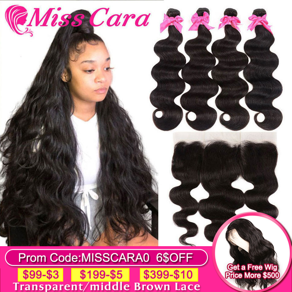 Peruvian Body Wave Bundles With Frontal 100% Human Hair 3/4 Bundles With Frontal Miss Cara Remy Hair Bundles With Frontal