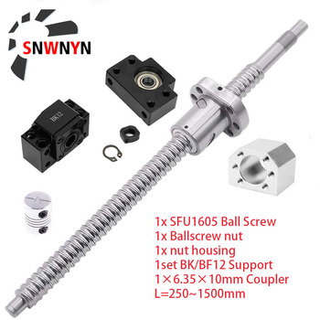 цена на 1set SFU1605 Rolled Ball Screw C7 With End Machined + 1605 Ball Nut + Nut Housing + BK/BF12 End Support + Coupler RM1605 For CNC
