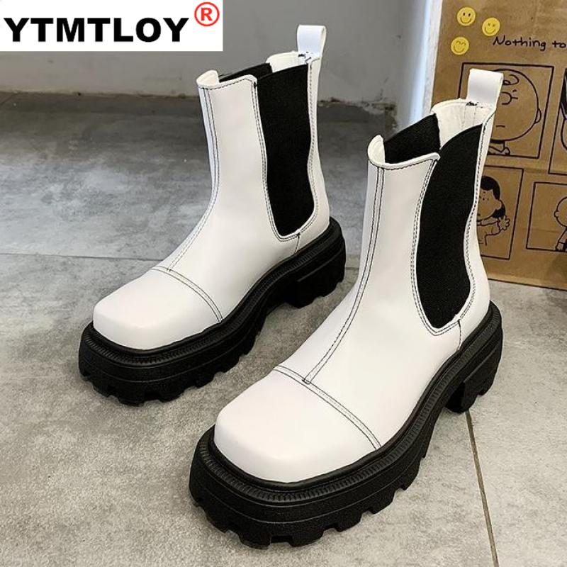 2020 New Spring Women Boot Autumn Comfortable Thick Color Matching Heel Boots Women Boots Winter Shoes Women