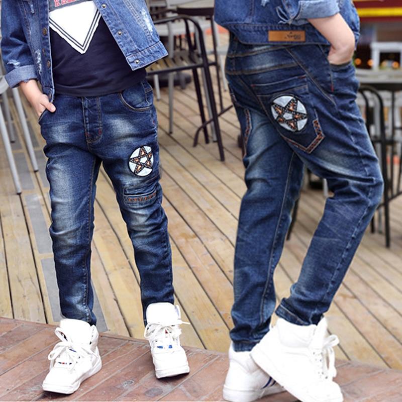 IENENS Kids Boys Jeans Spring Clothes Children Denim Long Pants Baby Boy Casual Trousers Stertch Jeans Fit Height 110-150 cm