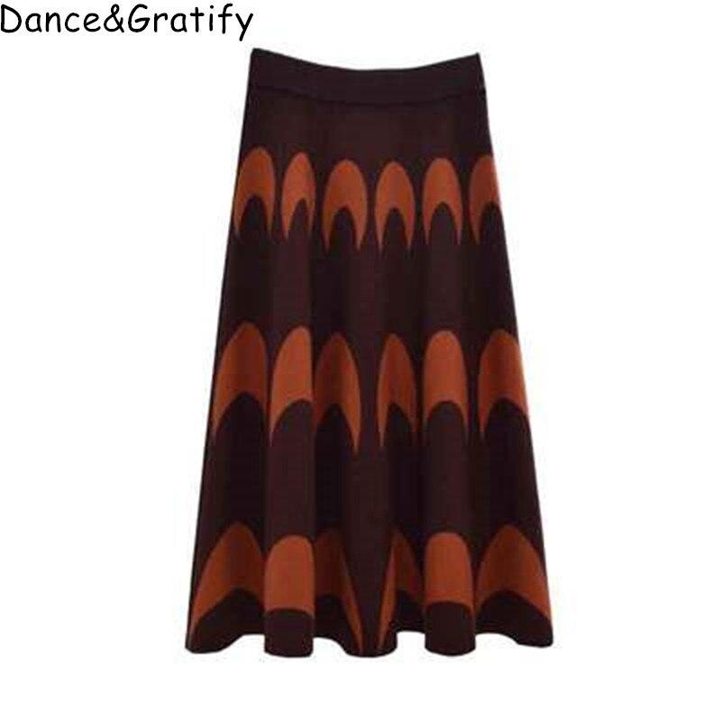 Women Vintage Jacquard Long Midi Knitting Skirt 2019 Autumn Winter Ladies High Waist Big Swing Chic Knitted Skirt