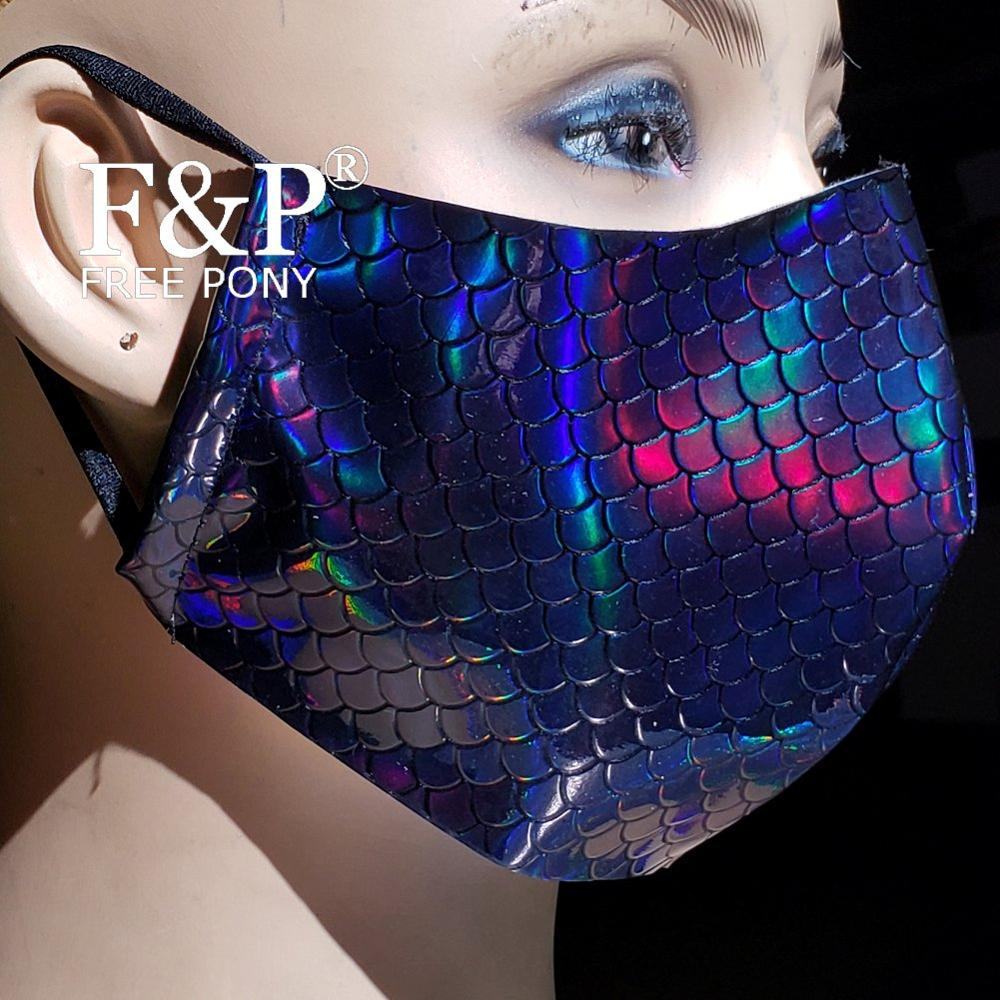 Black Holographic Rainbow Mermaid Dust Mask Mouth Mask Burning Man Festival Rave Mask Halloween Costume