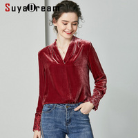 SuyaDream Women Velour Blouses 100%Silk Velvet Spring Long Sleeved V neck Office Blouse Shirt