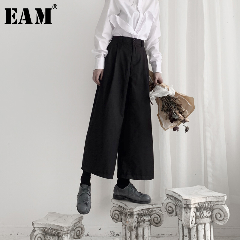[EAM] High Waist Black Brief Leisure Long Wide Leg Trousers New Loose Fit Pants Women Fashion Tide Spring Autumn 2020 19A-a551