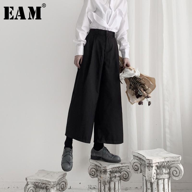 [EAM] High Waist Black Brief Leisure Long Wide Leg Trousers New Loose Fit Pants Women Fashion Tide Spring Autumn 2020 19A-a551