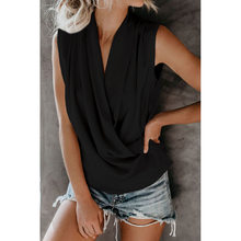 OEUVRE Women Sleeveless V Neck Ruffle Hem Peplum Cami Tops Solid Color Casual Tee(China)