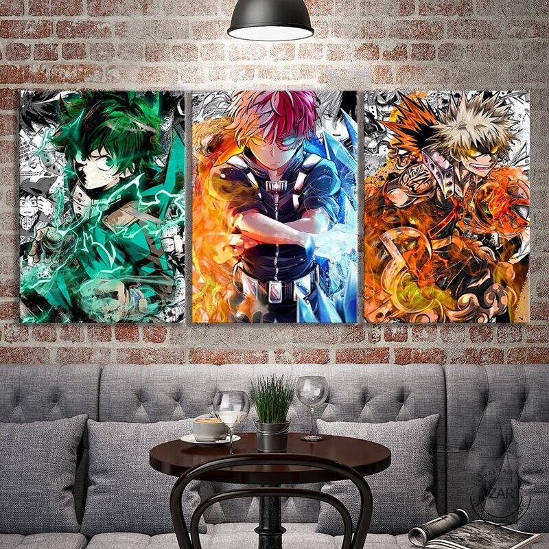 3 шт. изюку, катсуки и SHOUTO My Hero Academia, аниме-постер, комиксы, настенные наклейки, Картина на холсте для домашнего декора