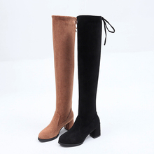 Sexy Over The Knee Women Stretch Elegant Low Heels Boots 2019 New Autumn For Slip On Brown Black Rubber
