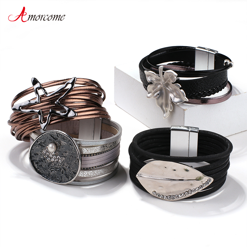 Amorcome Multi-type Stars Leaf Flower Round Charm Leather Bracelets for Women Multilayer Wide Wrap Bracelet Wristband Pulseira