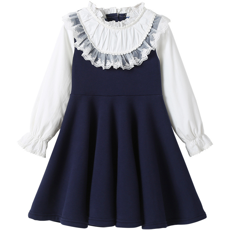 Back To School 2019 New Girls Clothing Dress Baby Casual Dress Kids Patchwork Fall Clothes Children Long Sleeve Dress Blue White 3