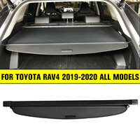 Car Trunk Cargo Cover Luggage Parcel Shelf Shade Shield for Toyota Rav4 Retractable 2019 2020 Car Styling Rear Load Cover Black