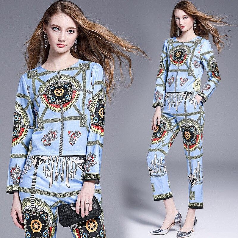 2019 New Style Ozhouzhan Debutante Elegant Trendy Two-Piece Set Long Sleeve Printed + Skinny Pants Capri Pants [Photo Shoot