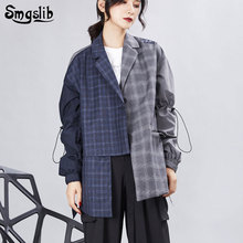 цена на 2019 Women's Coat jacket Striped Turn-down Collar Single Breasted Hit Color Spliced Plaid Personality female coats Fashion Tide