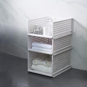 Image 1 - Organizador de ropa desmontable armario tablero de partición estante cajón caja de almacenamiento para dormitorio estante de almacenamiento apilable de varias capas