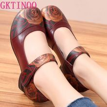 GKTINOO 2020 Retro Style Handmade Genuine Leather Shoes Women Thick With Heels F