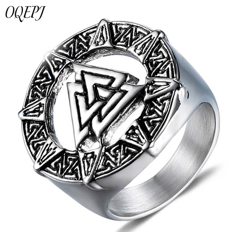 OQEPJ Classic Odin Symbol Norse Viking Rings 316L Stainless Steel Biker Triangle Shape Ring High Polished Men Charm Jewelry Gift