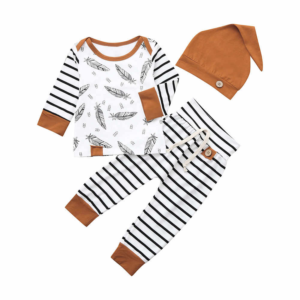 Newborn Baby Boy Girl Clothes Summer Hoodie Feather Ear Top Stripe Short Pants Outfit