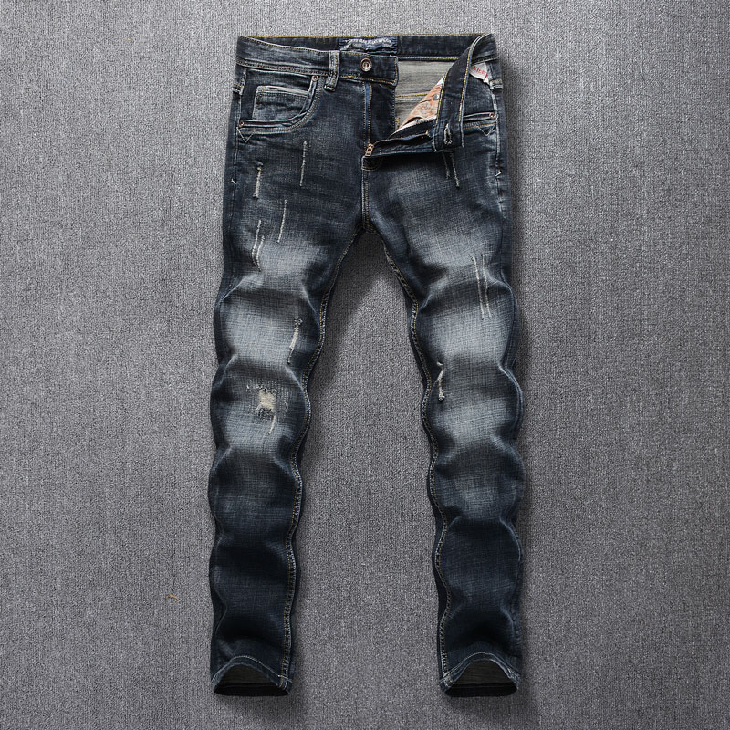 2019 New Style Designer Men Jeans Fashion Streetwear Black Color Slim Fit Buttons Classical Jeans Men Pants