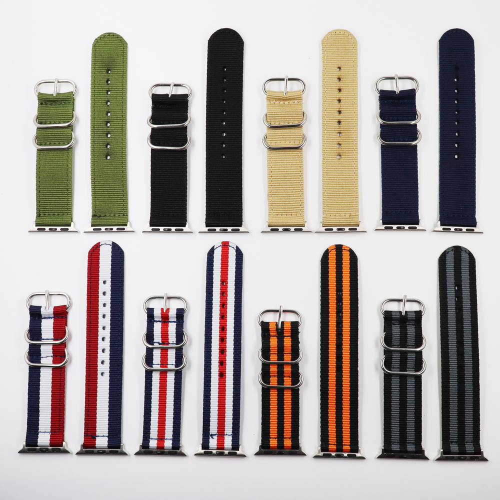 Nato Nylon Watchband For IWatch 4 3 2 1 For Apple Watch Band 38mm 40mm Watch Strap 42mm 44mm Black Wrist Bracelet