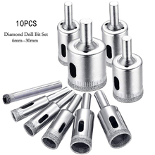 10 Pcs Diamond Drill Bits Hole Saw Drill Bits Glass and Tile Hollow Core Drill Bits