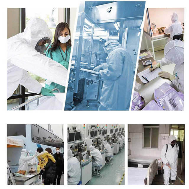 Disposable Hoodies Jumpsuit Coveralls Gown Dust-proof Isolation Clothes Labour Suit Security Protection Hooded Clothing PPE Suit 2