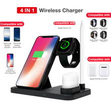 4 in 1 Wireless Charger For iWatch 4 3 2 1 Charging Stand Qi Fast Charging Base for iPhone X XS Max 8 Plus AirPods apple pencil