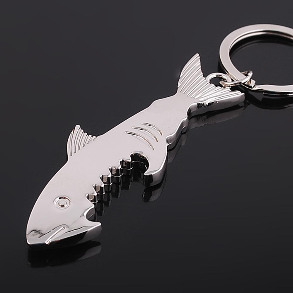 Creative Bottle Opener Keychain Silver Plated Shark Key Chain Car Key Ring Bag Charms Festival Souvenir Gifts Wholesale