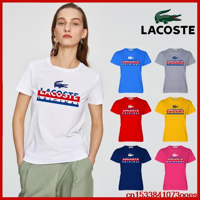 Lacoste- New Original Brand T Shirt Women Tops Summer Short Sleeve Fashion T-shirt 100% Cotton Tshirt 2LA101