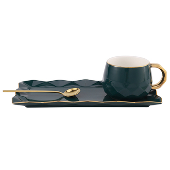 North European Ceramic Cup with Plate Creative Gold Coffee Cup Snack Dish Set Simple English Afternoon Tea Cup with Spoon
