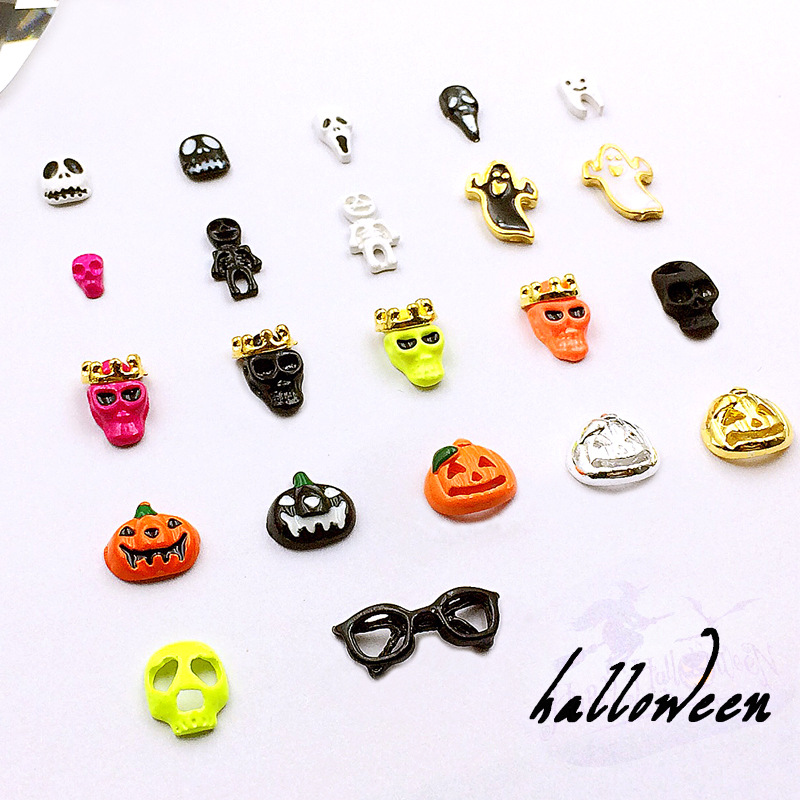 Metal Halloween Nail Ornament New Style Skull Necklace Pumpkin Skeleton Skull Head Halloween Horror Nail Sticker 50