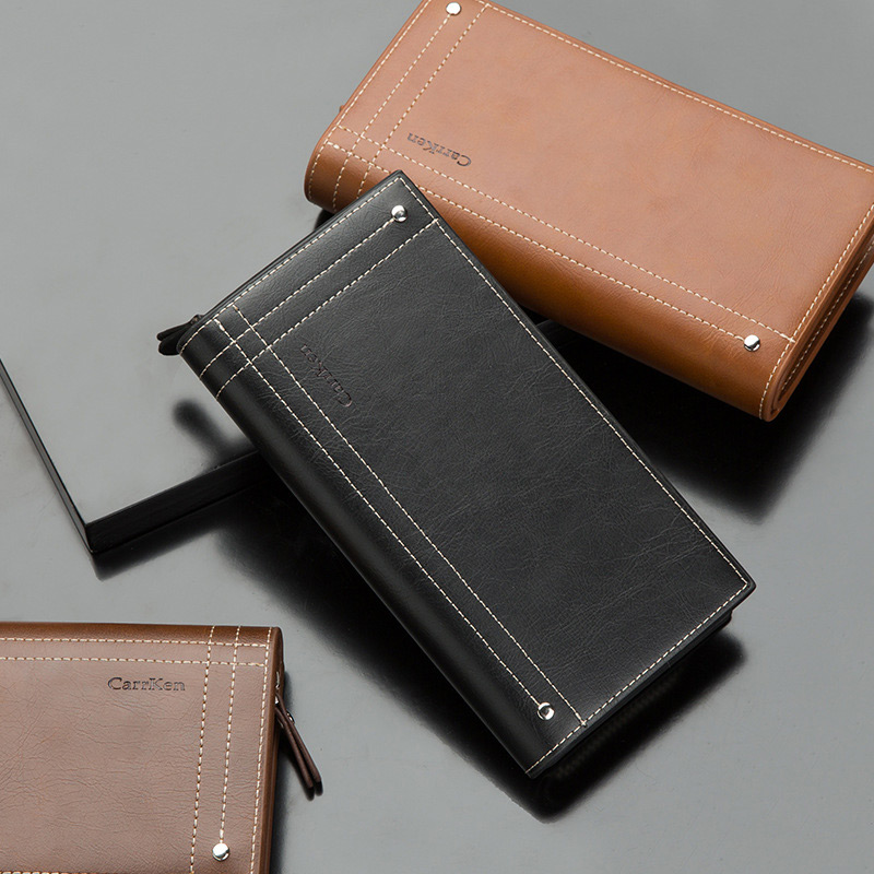 Fashion Men Long Wallet Leather Zipper Phone Bag Bifold Clutch Purse Pu Leather Credit Card Holder Wallets Vintage Money Bag Man