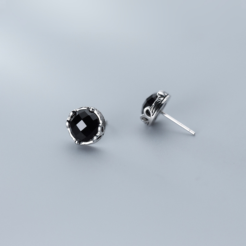 Stud Earrings with Synthetic Black Onyx 925 Sterling Silver