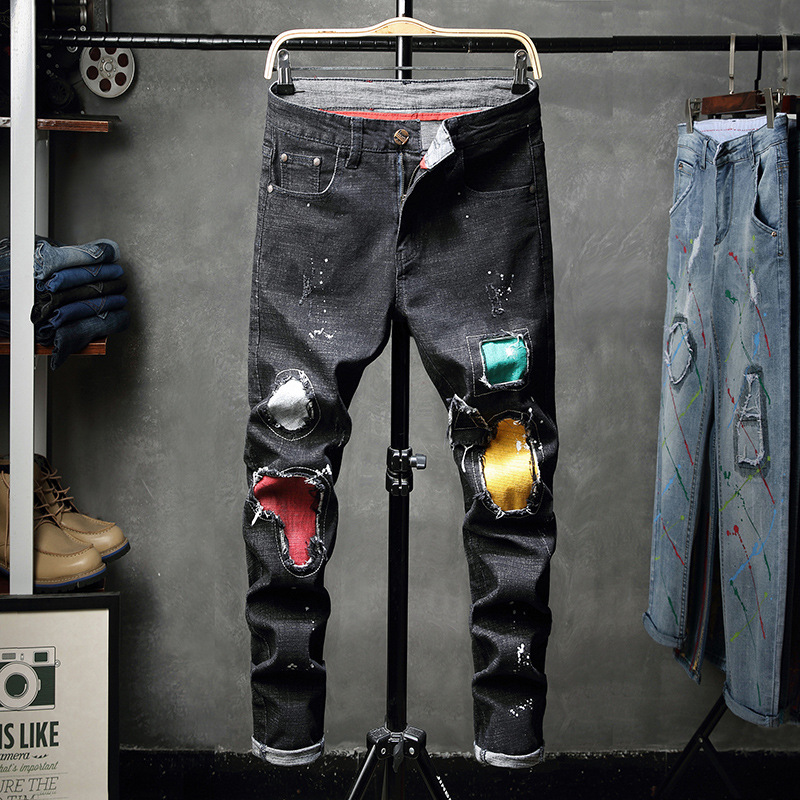 2018 Autumn And Winter New Style Jeans With Holes Men Black Jeans Elasticity Patch Beggar Trousers Fashion