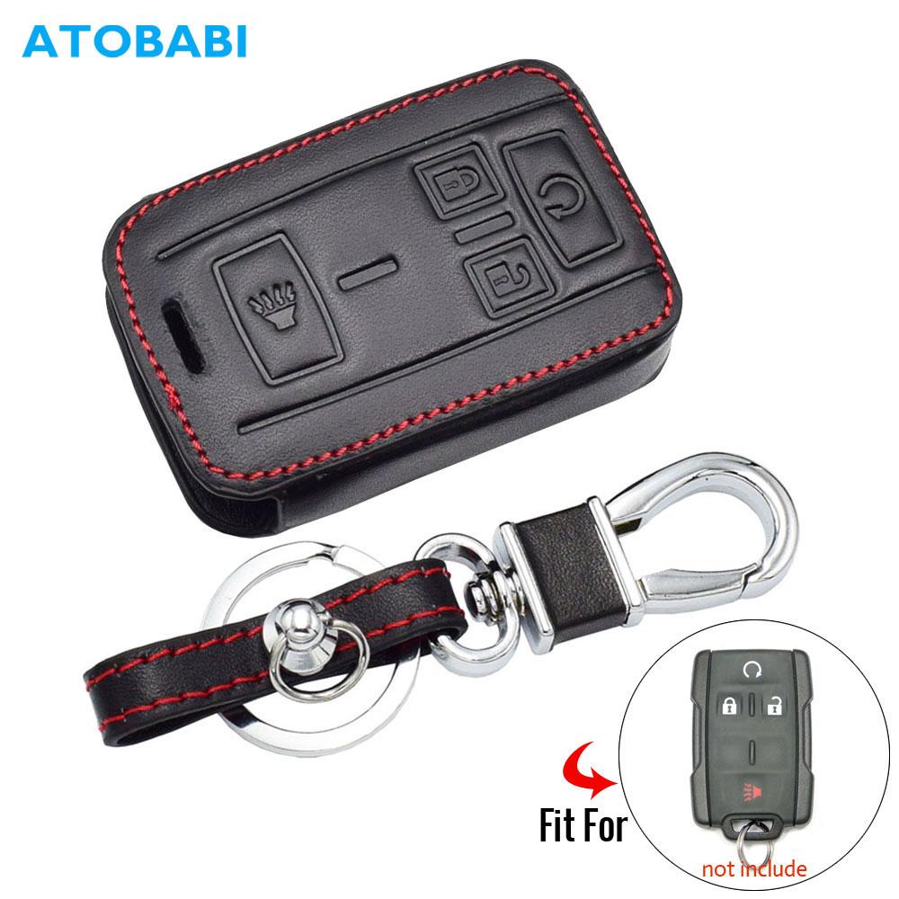 Leather Car Key Case For GMC Sierra Canyon Chevrolet Colorado Silverado Smart Keyless Remote Fob Cover Auto Keychain Protect Bag