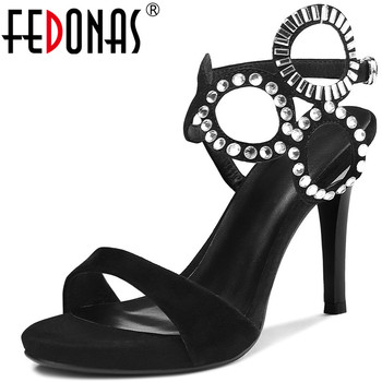 FEDONAS 2020 Rhinestone High Heels  Pumps Genuine Leather Glitters Women Sandals New Sexy Night Club Prom Dancing Shoes Woman
