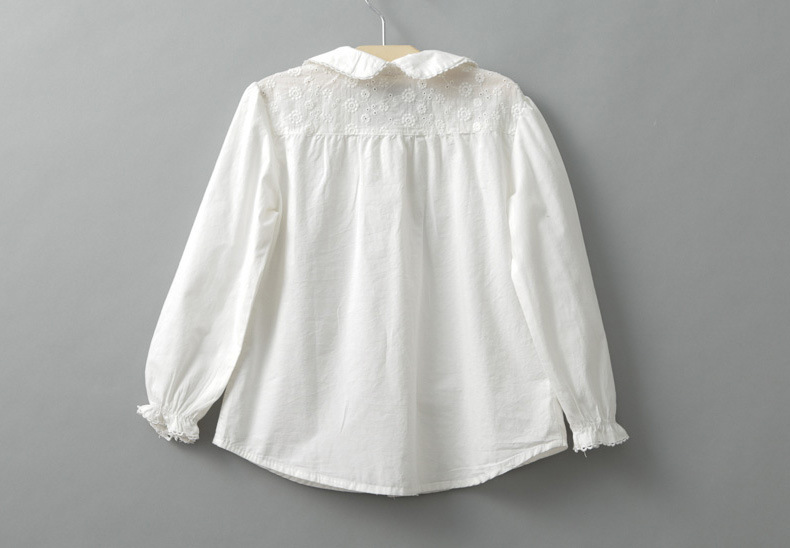 CHILDREN'S Shirt Students Girls Cotton White Shirt Spring And Autumn CHILDREN'S DAY Children Peter Pan Collar Long-sleeve Blouse