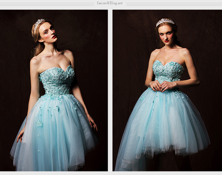 Sexy Sweetheart Lace Appliques Short Prom Evening Gown 2018 Sky Blue Tulle Ball Knee-length Mother Of The Bride Dresses