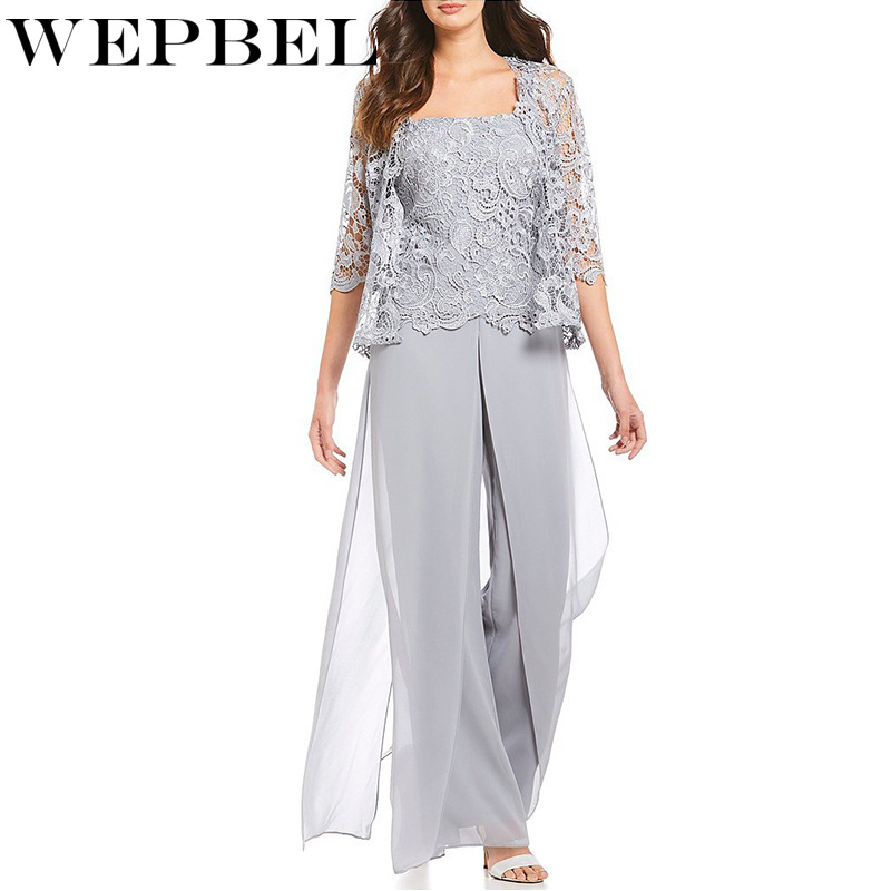 WEPBEL Women Jumpsuits Casual Solid Color Lace Full Length Mesh Sexy Fashion New Long S-5XL Pants Jumpsuit