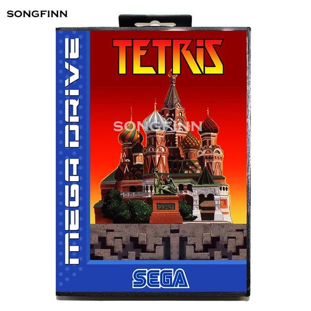 Tarjeta de memoria MD de 16 bits con caja para Sega Mega Drive para Genesis Megadrive   Tetris