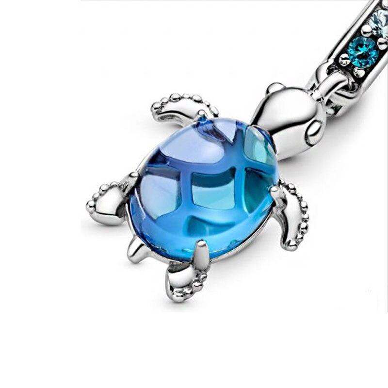 2020 Summer New Murano Glass Sea Turtle Dangle Charms Beads fit Original Pandora Bracelets Women DIY Jewelry