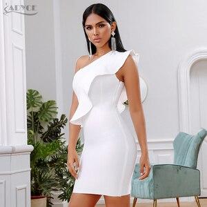 Image 4 - Adyce 2019 새로운 여름 여성 붕대 드레스 유명 인사 저녁 파티 드레스 섹시한 한 어깨 주름 bodycon 클럽 드레스 vestidos