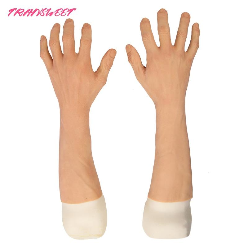 Haute qualité mâle Silicone gants prothèse mains manchon hautement simulé peau artificielle bras couverture cicatrices fausse main
