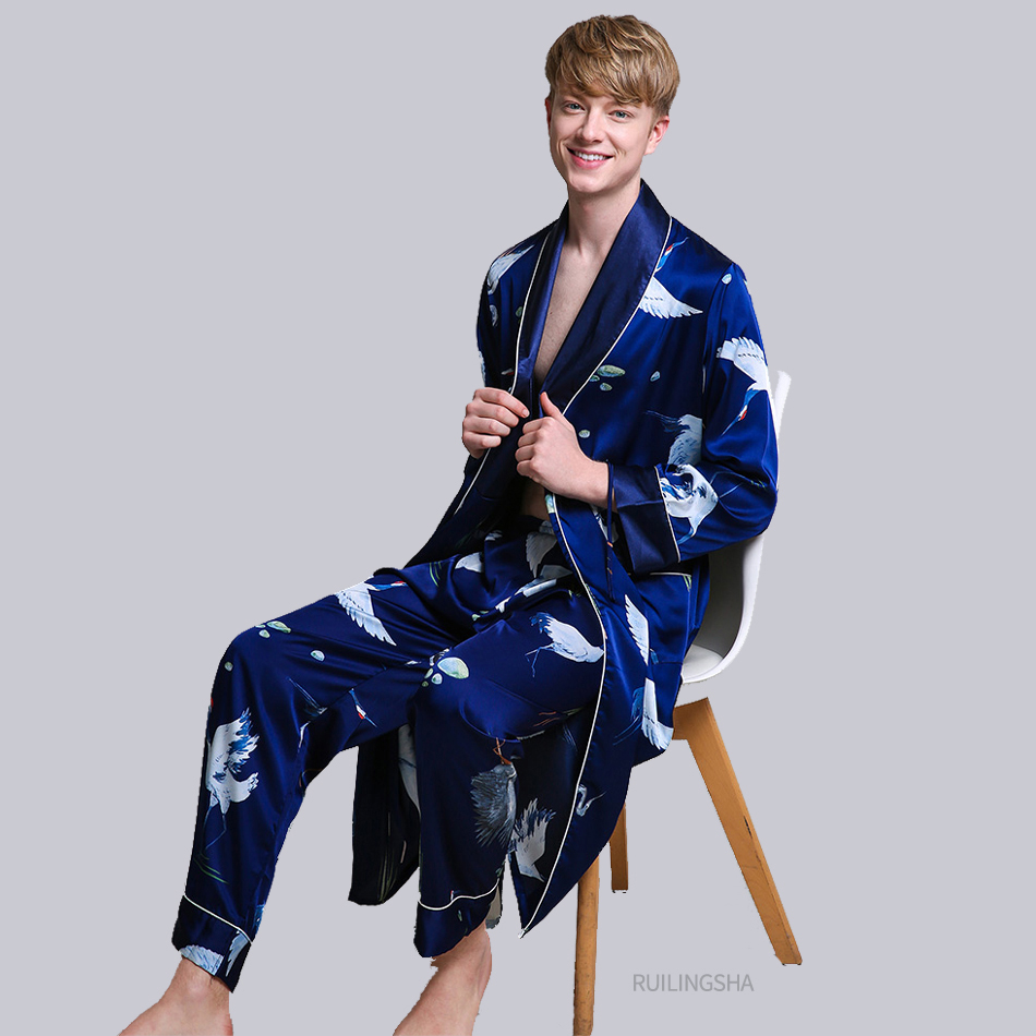 Two-Pieces Silk Nightgown Satin male Sleepwear Loose Tiger Dress Silky Long Sleeve Robe and Long Pants bathrobe set for Men