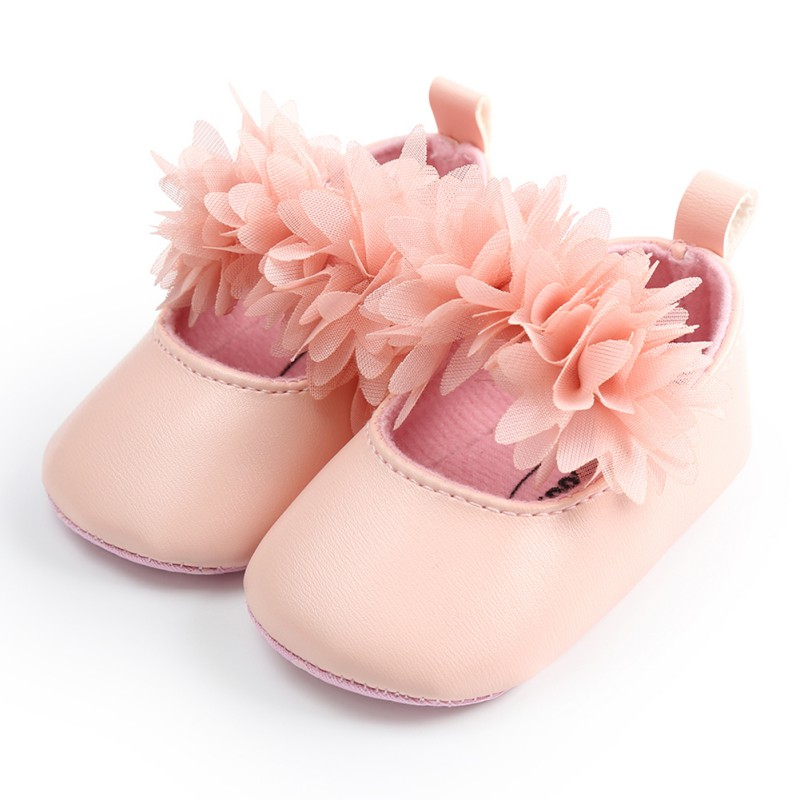 PU Spring Lace Flower Baby Girl First Walkers Anti-slip Soft Sole Bottom Walking Princess Shoes
