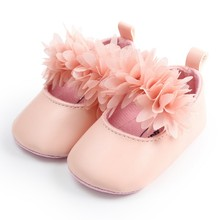 PU Spring Lace Flower Baby Girl First Walkers Anti-slip Soft Sole Bottom Walking