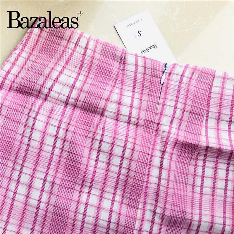 Bazaleas mignon Tartan blanc rose Patchwork a-ligne jupe saia plaid Mini jupe harajuku jupes fendues femmes