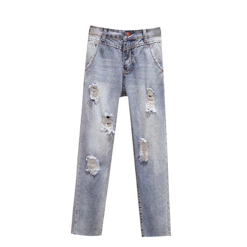 4xl Good Quality Plus Big Size Jeans Panty Women Spring Winter Autumn 2020 Feminina Thin Hole Denim Haroun Pants Female K0149