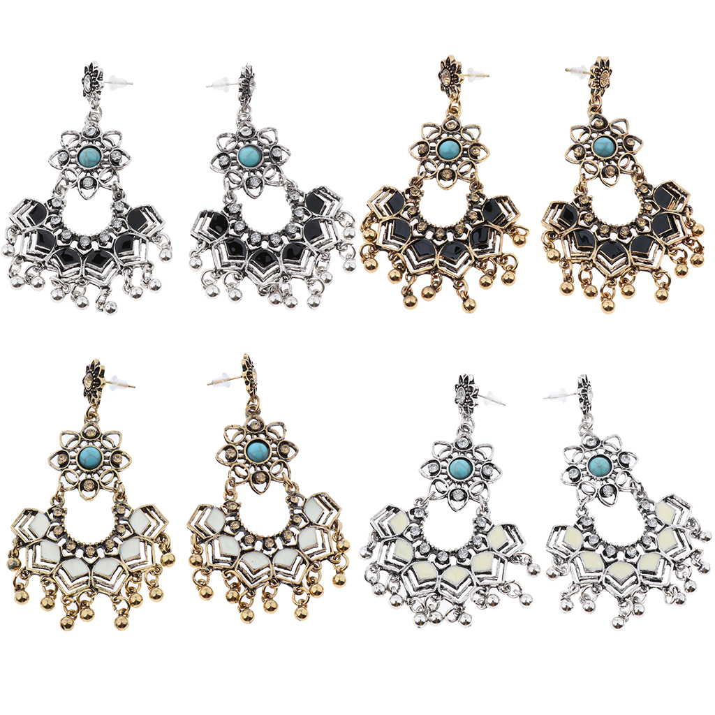 Vintage Rhinestone Floral Pattern Drop Dangle Stud Earrings for Women Ladies - Unique and Fashion Design