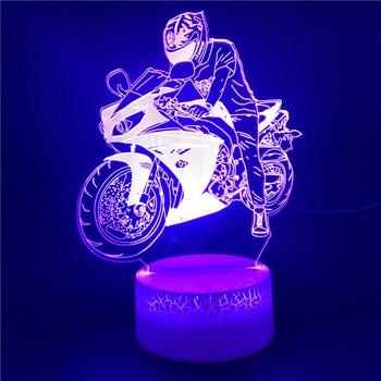 Lámpara LED de noche para motocicleta 3D, luz LED de noche rápida...